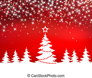Christmas red sparkle  background with tree