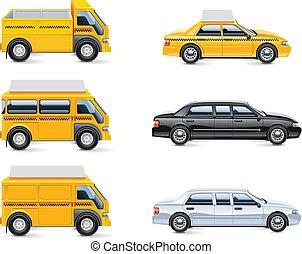 vector, taxi, servicio, iconos, P, 3