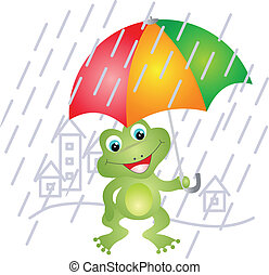 Frog under umbrella Illustration on white background