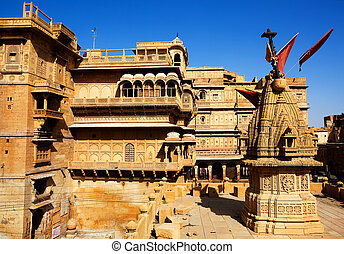 Raj Mahal royal palace of jaisalmer in rajasthan state in...