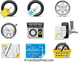 Car service icons. P.1. Tires - Set of the car repair and...