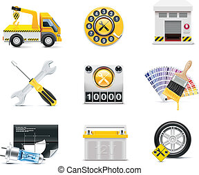 Car service icons. P.2 - Set of the car repair and...