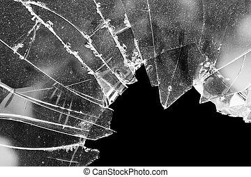 Broken window glass - Accident cracked damaged broken house...