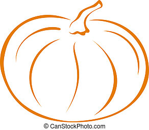 Pumpkin, pictogram - Vegetable, pumpkin, vector, monochrome...