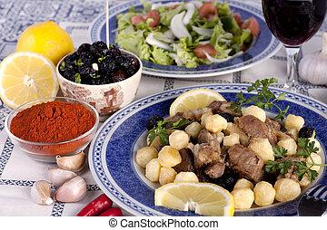 cuit, viande, pommes terre