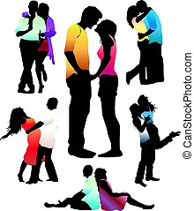 Set of happy love couple silhouettes.