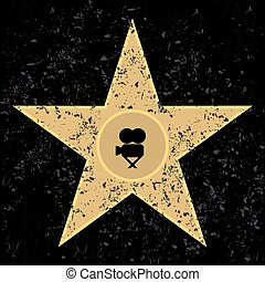 Cinema a star on a black background A vector illustration
