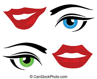 Eye and a lip - Set of icons of a lip and eye A vector...