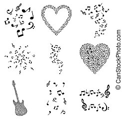 Musical note4 - Set of musical plots from notes. A vector...