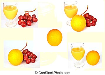 Mural - mural of red grapes with orange juice