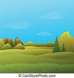 Landscape, autumn forest - Vector, autumn landscape: forest...