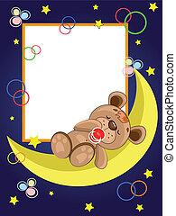 Frame with sleepping bear.