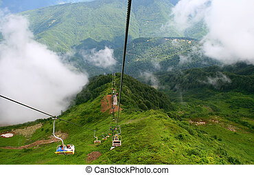 Ropeway - Mountains in clouds, ropeway