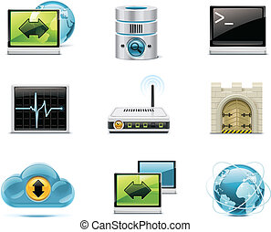 Internet and network icons P1 - Set of the computer...