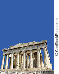 Parthenon with copy space - A view of the front facade of...