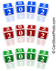 2012 cubes in blue, red and green