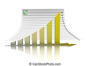Business graph and document paper - The green diagram and...