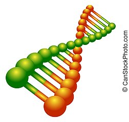 DNA Strand Icon - Illustration of an orange and green DNA...