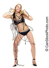 woman covered with electric cables - woman in lingerie...