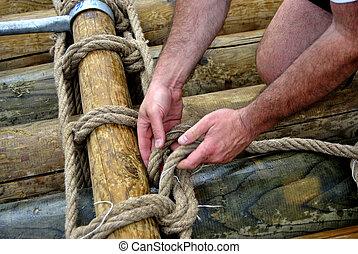 hemp rope - hands and hemp rope
