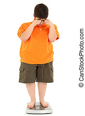 Morbidly Obese Fat Child on Scale - Morbidly obese fat child...