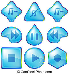 Playback buttons - Set various icons, water media player...