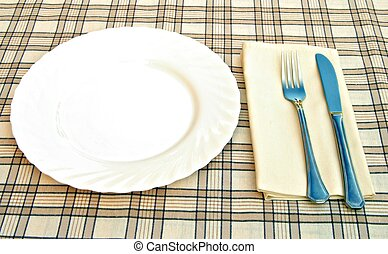 Knife fork and plate