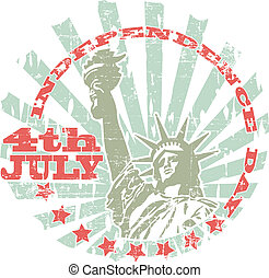 Independence Day stamp - The vector image of color...