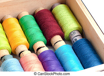 Colorful sewing threads in a box