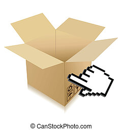 Hand Cursor and shipping box