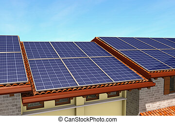 solar panels - view of a roof covered with solar panels 3d...