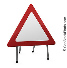 road sign - a road-sign blank triangular (3d render)