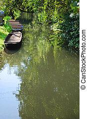 spreewald boat - traditional boats in the spreewald aerea,...