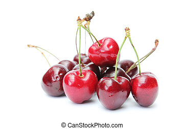 red cherries - sweet red cherries isolated on white...