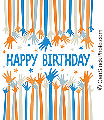 Happy birthday hands vector. - Happy birthday hands vector...