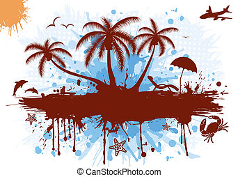 Summer frame with palm tree, dolphin, crab, starfish, vector...
