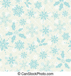 Christmas seamless background with snowflake, mistletoe,...