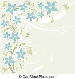 Flower frame with butterfly, element for design, vector...