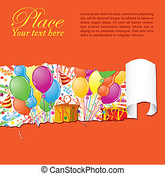 Party time - Party Frame with Balloon, streamer, carnival...