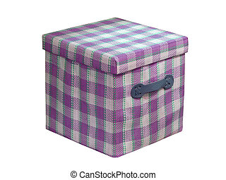 one cube violet container isolated on white, closed box