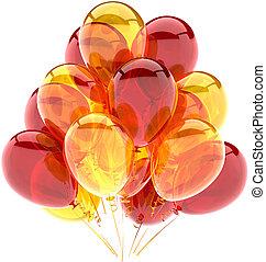 decoração, balões, aniversário, brilhante