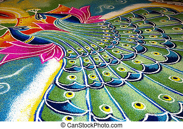 Indian kolam with peacock pattern - Colorful Indian kolam...