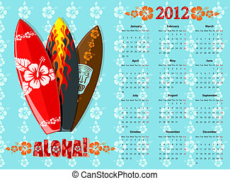 Vector blue Aloha calendar 2012