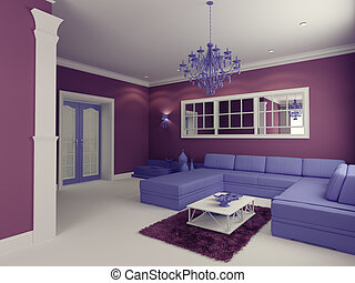 living room - cartoon-style modern living room interior...