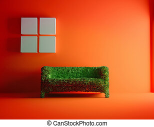 green sofa - Modern sofa covered with bright green grass...