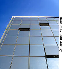 glass reflective office building, open windows