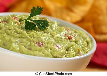 guacamole, hecho, mexicano, aguacate, cebolla, hoja, leaf),...