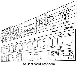 circuito, especificação, conceito, branca