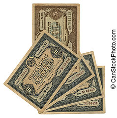 vintage ten, twenty five soviet roubles, paper texture - old...