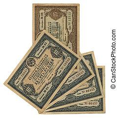 vintage ten, twenty five soviet roubles, paper texture - old...